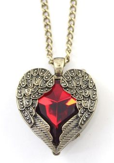 Red Vintage Alloy Angel Of Heart Pendant Necklace