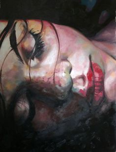 "Saatchi Online Artist thomas saliot; Painting, ""Close up dark"" I love the close up style and the warm and cold paints mixed, yet it still has a real skin look"