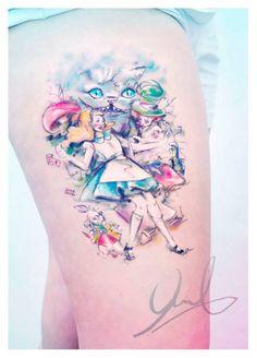 As tatuagens em estilo aquarela de Candelaria Carballo - Alice no País das Maravilhas