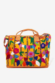 Embroidered Leather Weekender