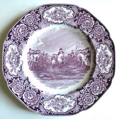 Surrender of Cornwallis - Vintage Purple Aubergine English Transferware Plate - American History - Historical Plate - Crown Ducal