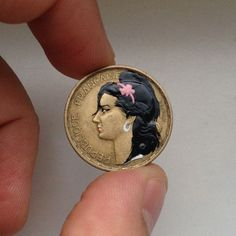 Andre Levy coin painting of Amy Winehouse