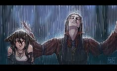 They could be Lenia and Alekan... only that she is not a kitsune (Rain by Kate-FoX.deviantart.com on @DeviantArt)