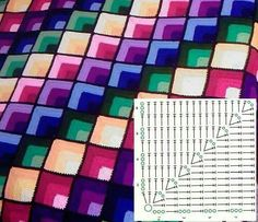 CROCHET GRANNY COLOR SQUARE BLANKET OPTION#2 •• Optical Illusion •• WITH DIAGRAM | **Simply for reference to show another option for the granny color square** |~~https://www.pinterest.com/bonniebuchanan~~