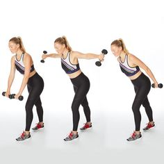 reverse fly press back arm exercise dumbbells Ideal for when you want a quick hit of strength after a cardio session. 5 Minute Arm Workout, Dumbbell Arm Workout, Abs Workout Video, Gym Video, Workout Plan For Women, Abs Workout Routines, Abs Workout For Women, Arm Workouts, Workout Exercises