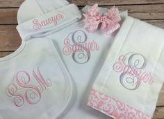 Baby Girl ONESIE OUTFIT, Personalized Interlaced Vines Monogram Bodysuit, Pink Personalized Baby Onesie Burp Cloth, Initial Monogram Newborn