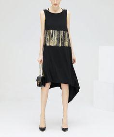 Black & White Off-Shoulder Midi Dress #zulily #zulilyfinds