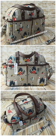 Awesome diaper bag sewing pattern. Handles, shoulder strap and even stroller straps to sling the bag from the handles. 10 pockets - this diaper bag sewing pattern has everything! Photos by Erin Morris