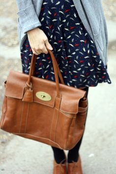 Parrot print dress - Oasis, cardigan - Zara, skinny belt - ASOS, Bayswater handbag - Mulberry, brogue shoe boots - Dune