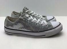 cd3f10d9408 Converse All Star Metallic Silver Low Cuts Shoes Men s Size 6 Women s 8 EUR  ...