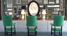 The Viceroy in Santa Monica. Love the mirror collage, eclectic styles, and sharp colors! My favorite Kelly Wearstler space!