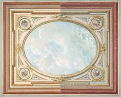 I love the sky part of this, bright, clear and cheerful...Design for a ceiling of trompe l'oeil sky