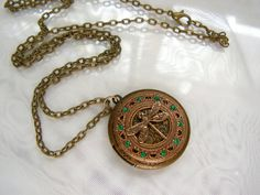 Brass Vintage Inspired Locket with Dragonfly And by rtistmary