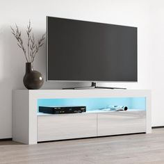 Milano Classic Modern 16 color 63-inch TV Stand | Overstock.com Shopping - The Best Deals on Entertainment Centers - Gray/Wavy Black Long Tv Stand, Black Tv Stand, Low Profile Tv Stand, Electric Fireplace Tv Stand, Interior Design Career, Cool Tv Stands, Living Room Storage, Entertainment Room, Modern Room