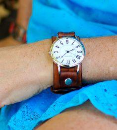 Mini Big & Bold Brown Leather Wrist Watch . how I love. I wonder if it would fit on my tiny wrist