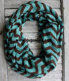 Turquoise and Brown Chevron Infinity Scarf www.gugonline.com