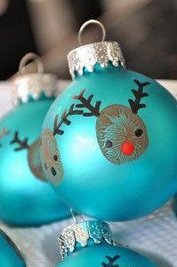Kerstballen versieren/ vingerafdrukken/ lesidee OB