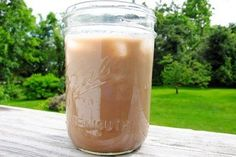 Iced Mocha Recipe(makes one)1/2 cup coffee (of your choice)1/2 cup unsweetened almond milk1 tablespoon chocolate syrup (such as Hershey's)Mix coffee, almond milk, and syrup in jar.  Store, covered, in fridge until ready to drink.  Add lots of ice cubes and enjoy!For one mason jar = 74 calories, 1.7 g fat, 13.2 g carbohydrates, 9.3 g sugar, 1.0 g protein, 1.0 g fiber, 106 mg sodium, 2 PointsPlus