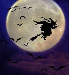 Purple witch flying on broomstick in Moonlight
