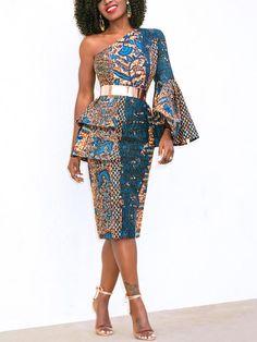 One Shoulder Layered Flare Sleeve Print Dress