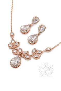 Wedding Necklace Earrings set Rose Gold plated Zirconia Necklace Earrings Wedding Necklace Bridal Jewelry Bridal Necklace CZ Necklace Tri