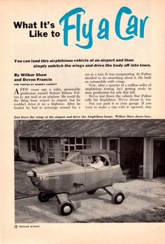 """""""What it's Like to Fly a Car?"""" Fulton Airphibian (1945) - Popular Science"""