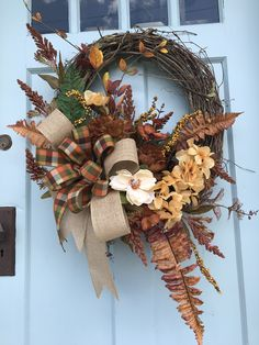 Brown and Gold Fall wreath for front door, Autumn Pumpkin Floral Grapevine Wreath for Door, Friends wreath for front door, pumpkin wreath, by DesignsbyDebbyOhio on Etsy autumnwreathsforfrontdoor Thanksgiving Wreaths, Holiday Wreaths, Pumpkin Wreath, Autumn Decorating, Grapevine Wreath, Fall Burlap Wreaths, Autumn Wreaths For Front Door, Country Wreaths, Deco Wreaths
