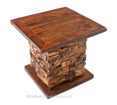 Salvaged Wooden Panel End Table