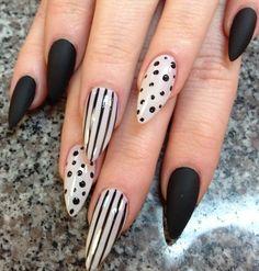 Polka dots, stripes, matte stiletto nails