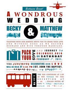 Travel-themed wedding invitation. Love the layout.