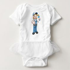 Cartoon Woman Painter Decorator Character Baby Bodysuit - construction business diy customize personalize
