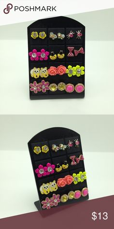 """Bundle pink yellow panda bow ladybug spider rose NWT Bundle lot set of 12 pairs of stud earrings on earring display. You will receive all the items shown (12 pairs of studs + 1 display)(display is approximately 2.5"""" W X 2.75"""" H). Items are NOT sold individually. Mixed Metals. Lead & nickel free & hypoallergenic. Price is firm! Bundle to SAVE! ER#139 Tops"""