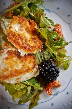 Blackberry and Bacon Arugula Salad with Fried Goat Cheese