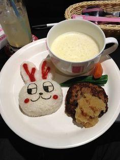 Rabbit hamburger rice at AKB48 cafe