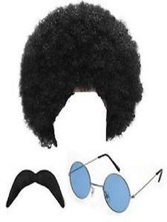 4a22c471aa Mens Hippy Wig Moustache Glasses Fancy Dress 1960s 1970s afro costume black