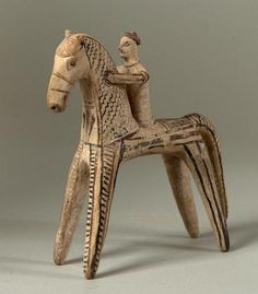 Greek - Horse and Rider -  6th century BCE Terracotta with slip decoration; The Barnes Foundation