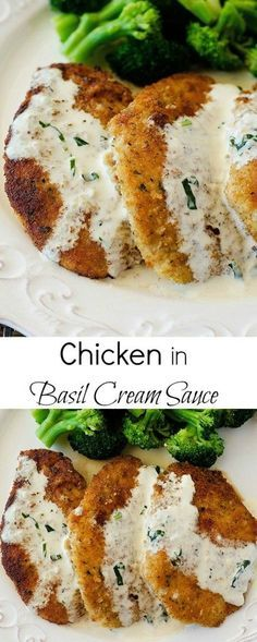 Chicken with Basil Cream Sauce: cheap, easy to make, and delish. Friend said he would pay for this in a restaurant and so I am adding it to the make again list. Served chicken with sauce and sautéed (Easy Meal To Make Chicken Recipes) I Love Food, Good Food, Yummy Food, Tasty, Turkey Recipes, Chicken Recipes, Cooking Recipes, Healthy Recipes, Healthy Food
