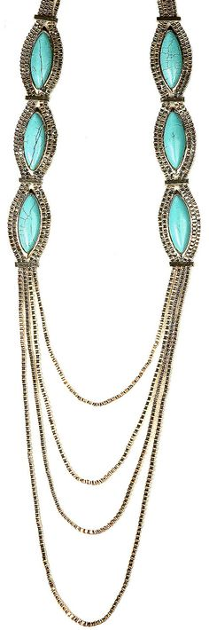 https://www.cityblis.com/6091/item/13687 | Bentley - $58 by sistaco |  Gold Turquoise long chain necklace | #Necklaces
