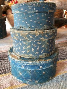 Set of 3 Small Blue Calico Boxes Early Old Primitive and Antique Look | eBay