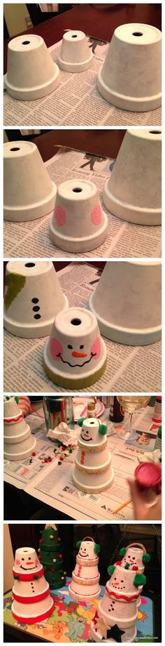 snowman craft...turn bottom one upside down. Then turn middle one right side up. Last put head upside down on top of other one. Paint white and face like picture.
