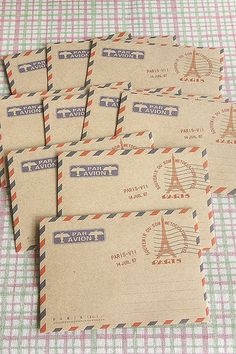 ECO Brown Kraft - Craft Paper Mini Envelope - Paris Eiffel Tower