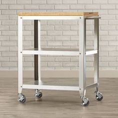 Red Barrel Studio® Behling Prep Table with Butcher Block Top & Reviews   Wayfair Furniture Handles, Steel Furniture, Kitchen Furniture, Furniture Cleaning, Condo Furniture, Luxury Furniture, Kitchen Decor, Small Kitchen Cart, Space Saving Kitchen
