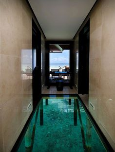 Glass over water floor design