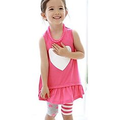 Girl's Round Neck Love Print Sleeveless Clothing Sets
