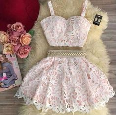 Hot Sale Comfortable Homecoming Dresses Two Piece Cute Pink Two Pieces Lace Short Prom Dress, Pink Homecoming Dress Two Piece Homecoming Dress, Prom Dresses Two Piece, Lace Homecoming Dresses, Hoco Dresses, Pretty Dresses, Beaded Dresses, Formal Dresses, Teen Dresses Casual, Two Piece Dress Casual