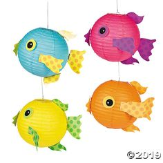 Tropical Fish Hanging Paper Lanterns Let these tropical fish school you on the necessity of good lighting! Great for your under the sea-themed event, these party supplies come in beautifully bold … Fish Lanterns, Hanging Paper Lanterns, Under The Sea Decorations, Hawaiian Party Decorations, Ocean Theme Decorations, Ocean Crafts, Fish Crafts, Dinosaur Crafts, Party Crafts