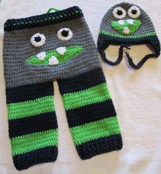 Grey Green and Blue Monster Butt Pants and Hat Set