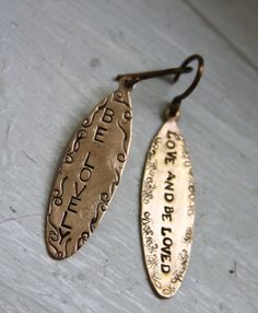Stamped Cord Earrings - measure just under 2 in - such a cute way to spread a little sunshine