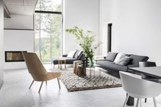 Living Room With Concrete Floors And Grey Sofa : Types Of Interior Concrete Floors