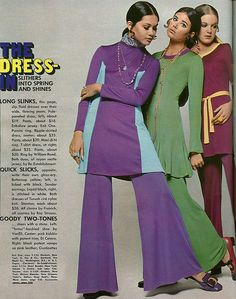 Groovy mini-dresses worn over wide bell bottom pants ~ Seventeen Magazine, 1969 Over 60 Fashion, 60s And 70s Fashion, Mod Fashion, Vintage Fashion, Womens Fashion, Fashion 101, Ladies Fashion, Vintage Style, High Fashion